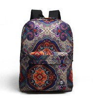 MagicPieces Vintage Pattern Canvas School Bag Travel Backpack 042318 ZDP 0705 Color Blue