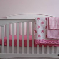 Personalized Minky Elephant Baby Crib Bedding Set for GIRLS  - Made in USA