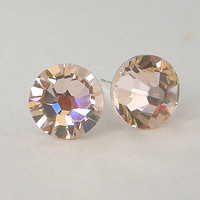 Silk Swarovski crystal studs, 7mm champagne stud earrings, pale peach, beige, bridal earrings