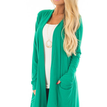 Kelly Green Long Cardigan with Pockets