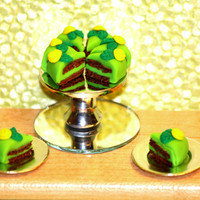 Dollhouse Miniature Chocolate and Green Frosting with yellow flower