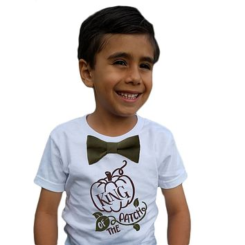 Toddler Boy Fall Shirt with Saying and Olive Green Bow Tie