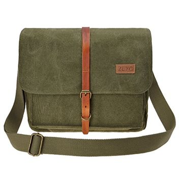 ZLYC Vintage Retro Genuine Leather and Canvas Removable Padded Camera Bag Messenger Shoulder Bag for DSLR Camera and Lens, Army Green