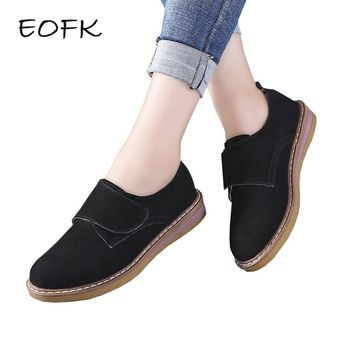 EOFK Women Leather Shoes Woman Cow Suede Casual Women's Moccasins Soft Flat Shoes Comfy Fashion Ladies Flats Shoes Female