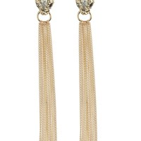 Clear Metal Snake Head Long Chain Tassel Earring