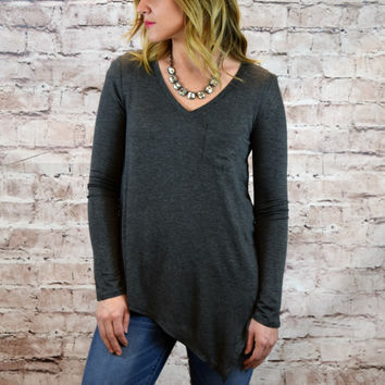 Alexandria V-Neck Pocket Asymmetrical Top - Charcoal