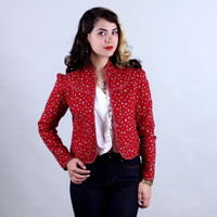 1970s Red CALICO JACKET | Vintage 70s Gunne Sax-style Floral Quilted Coat | small