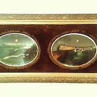 Victorian Oil Paintings On Mirror with Velvet Frame Isle of Man Lighthouse