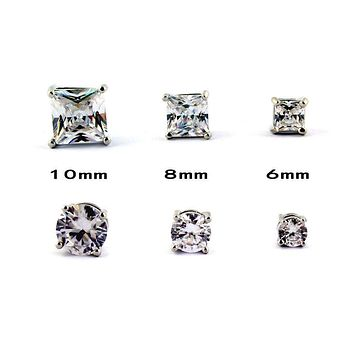 1 PAIR CZ CLEAR SQUARE / ROUND MAGNETIC Clip-On EARRINGS STUDS Men Women