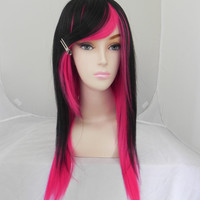 HALLOWEEN SALE // Hot Pink and Black / Long Straight Layered Wig