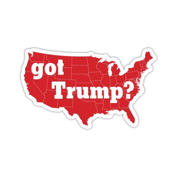 "Got Trump ? USA America MAGA Red GOP Republican Map 10""x6"" bumper sticker"