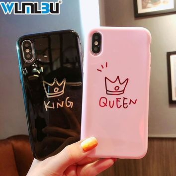 Trendy Glossy Crown Phone Case For iphone X Case For iphone 8 Plus 6 6S 7 Plus Cute Letter KING QUEEN Soft TPU Couples Back Cover AT_94_13