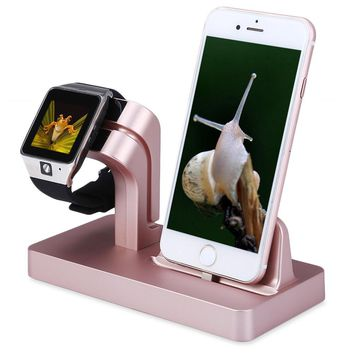 2 in 1 Smartwatch and Smartphone Charging Dock Stand Cradle, Smart Wristband Phones Charger Holder Bracket for iWatch for iPhone