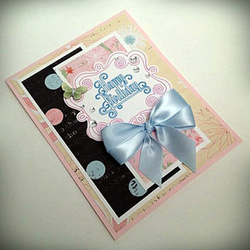 Handmade card, happy birthday, floral paper, pink black cream, blue satin ribbon, clear rhinestones, satin bow, birthday card, greeting card