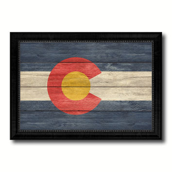 Colorado State Flag Texture Canvas Print with Black Picture Frame Home Decor Man Cave Wall Art Collectible Decoration Artwork Gifts