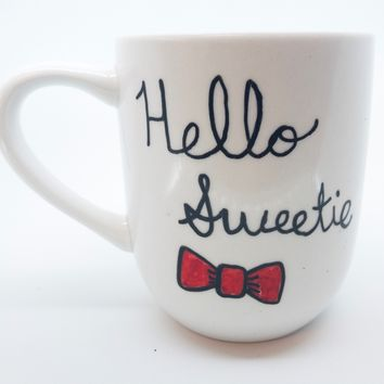 Hello Sweetie River Song Quote Coffee Mug Handmade Doctor Who Tea Cup