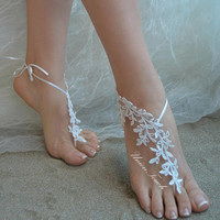 lace barefoot sandals beach wedding barefoot sandals beach barefoot lace barefoot pearly lace anklet silver frame lace anklet lace sandals