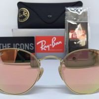 AUTHENTIC RAY-BAN ROUND METAL RB3447 112/Z2 50MM PINK MIRROR LENS SUNGLASSES