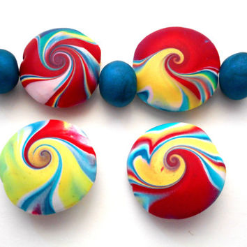 Set of 7 Handmade Polymer Clay Beads Big Top Circus Colors
