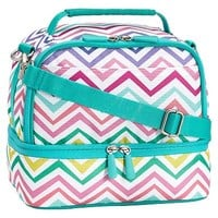 Gear-Up Multi Chevron Print Dual Compartment Lunch Bag