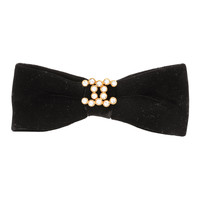 Chanel Black Large Velvet Hair Barrette