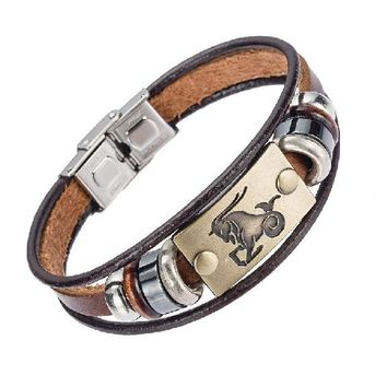Stainless Steel Clasp Leather Bracelet for Men