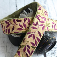 ONLY TWO LEFT - Autumn Camera Strap - Olive and Plum Leaves - Padded Camera Strap - dSLR Camera Strap - Nikon Camera Strap - Canon Camera