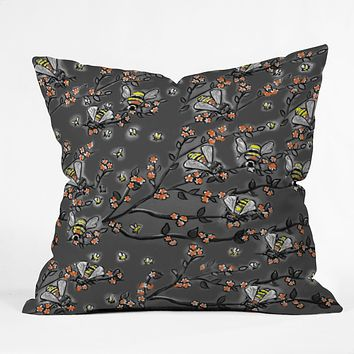 Renie Britenbucher Bees Black White Throw Pillow