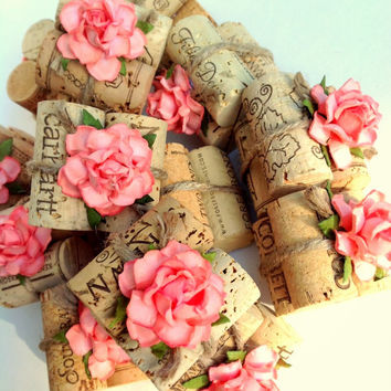 Coral Rustic Wedding Decor Place Card Holders Wine Cork Twine