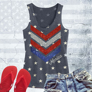 SPECIAL EDITION Glitter Merica Star Tank Top. 4th of July Tank. Fourth of July Shirt. America Tee. USA Tank Top. 4th of July Party Tank.