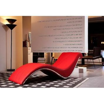 VIG Divani Casa Essen Modern Leather Leisure Lounge Chaise In Red