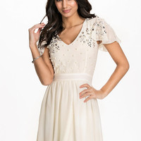 Embellished Chiffon Mini Dress, Te Amo