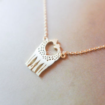 Love giraffes necklace in gold or silver, heart giraffes necklace, giraffes in love