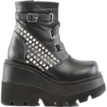Demonia Shaker 50 Black Studded Platform Gothic Ankle Boot