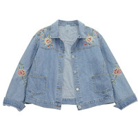 Denim Jacket with Floral Pattern