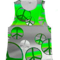 womens green and grey peace muscle tank