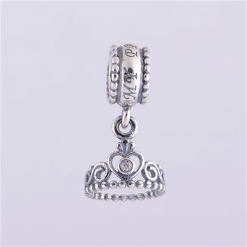 My Princess beads Crown with CZ Fits European Bracelet 100% Sterling Silver Jewelry Princess Charm DIY Fine Jewelry Findings