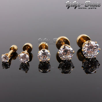 5pcs 3-7mm Zircon Ear Piercing Unique Design Gold Stainless Steel Twist Nose Lip Ring Nose Stud Body Piercing Jewelry For Women