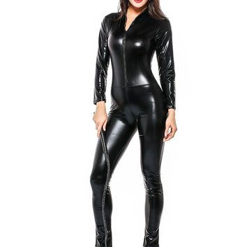 New Arrival Women Jumpsuit Black Faux Leather Catsuit Long Sleeve Bodycon Bodysuit Fetish Catwoman Cosplay Costume Party Wear