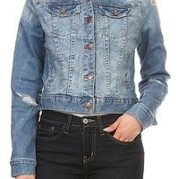 Blue Vintage Wash Distressed Ripped Stretch Jean Jacket Sizes S-M-L