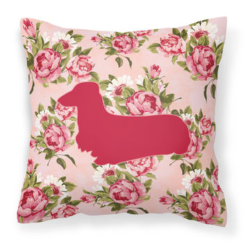 Dachshund Shabby Chic Pink Roses  Fabric Decorative Pillow BB1078-RS-PK-PW1414
