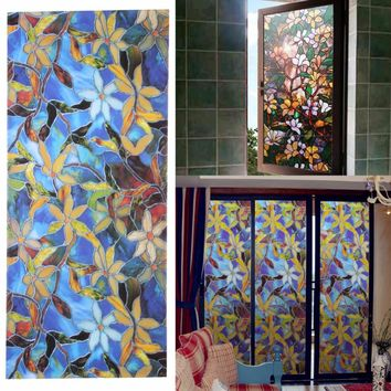 Window Film Magnolia etched Glass Static Clings Window Privacy Film Textured Stained Effect Floral Security Static Clings Film
