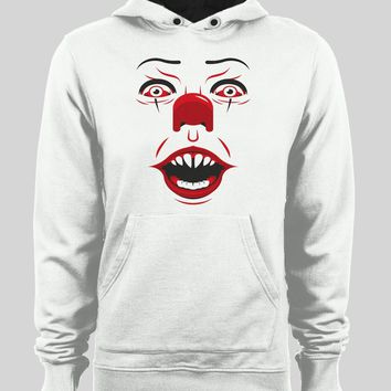 PENNYWISE KILLER CLOWN FACE WINTER PULL OVER HOODIE