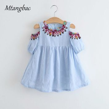Girls Dress Bohemian 2017 Kids Clothes For Girls Fashion Strapless Print Summer Dress Beach Dress Princess Girl Cloth vestidos
