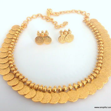 Simple Traditional coin Necklace and Stud Earring