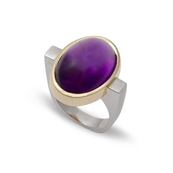 Oval Amethyst Bezel Ring