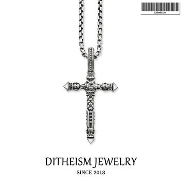 Link Chain Necklace Skull Cross Blackened, 2018 Fashion 925 Sterling Silver Jewelry European Punk Gift For Men Women Boy Girls