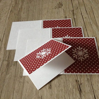 Christmas greeting cards - set of 4 cards - crafted scrapbooking postcards - red white rustic-new year winter snowflake - europeanstreetteam