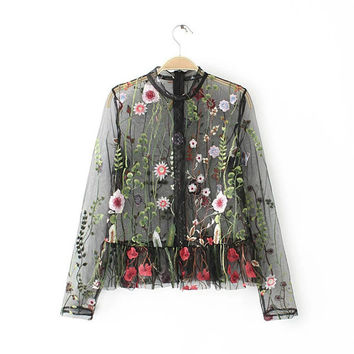 Woherb New  Fashion Translucent Tulle Blouse Sexy Colorful Floral Embroidery Blouses Ladies Blusas Women Tops Plus Size 2766 GS