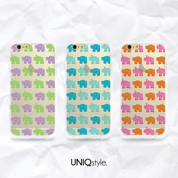 "iPhone 6 4.7"" cute elephant transparent case - colorful animal pattern clear back cover for iPhone 4/4s/5/5s/5c, Samsung S4,S5,Note 3 - A102"